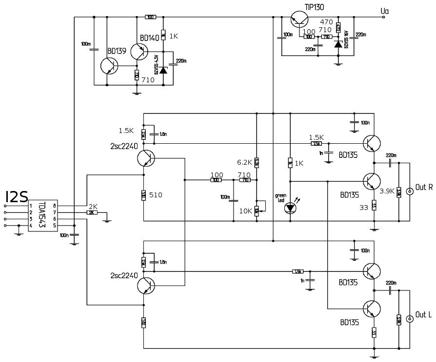 Схема ЦАП TDA1543 V3